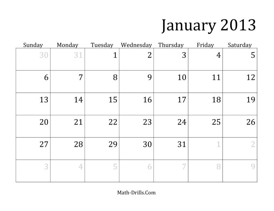 The 2013 Monthly Calendar Measurement Worksheet