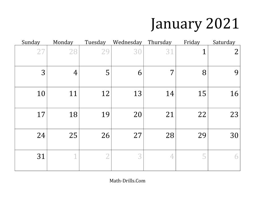 2021 Calendar 2021 monthly calendar