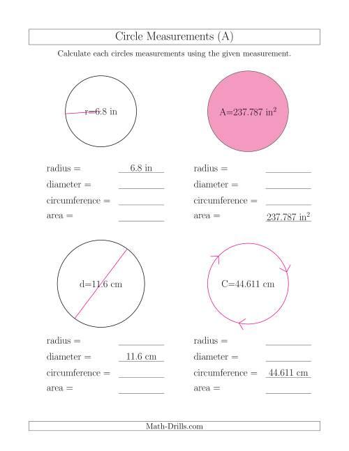 math worksheet : calculate all circle measurements a measurement worksheet : Maths Circles Worksheets
