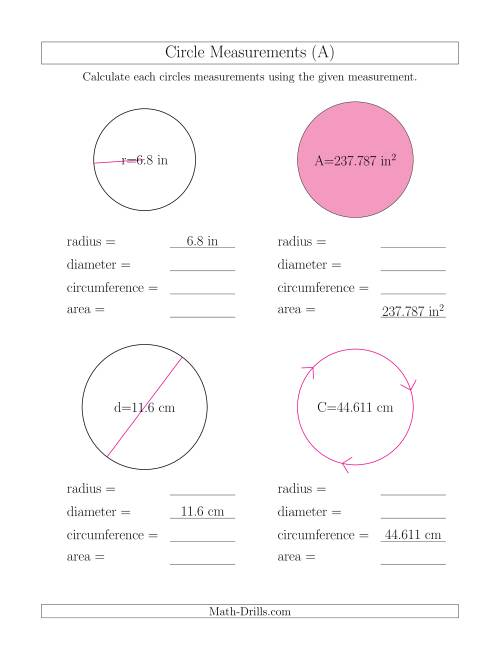 The Calculate All Circle Measurements (A) Math Worksheet
