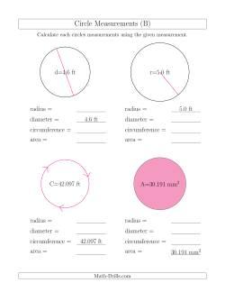 calculate all circle measurements b measurement worksheet. Black Bedroom Furniture Sets. Home Design Ideas
