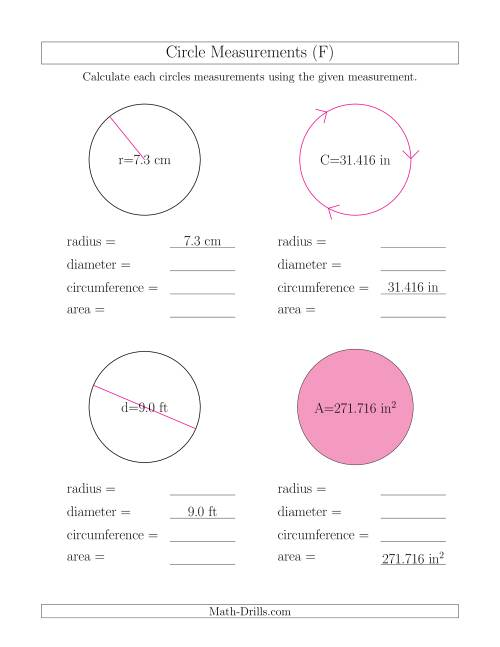 The Calculate All Circle Measurements (F) Math Worksheet