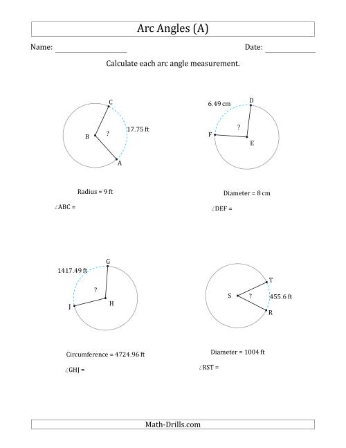 The Calculating Circle Arc Angle Measurements from Circumference, Radius or Diameter (A) Math Worksheet