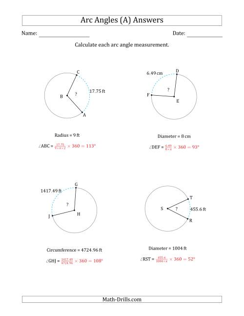 The Calculating Circle Arc Angle Measurements from Circumference, Radius or Diameter (A) Math Worksheet Page 2