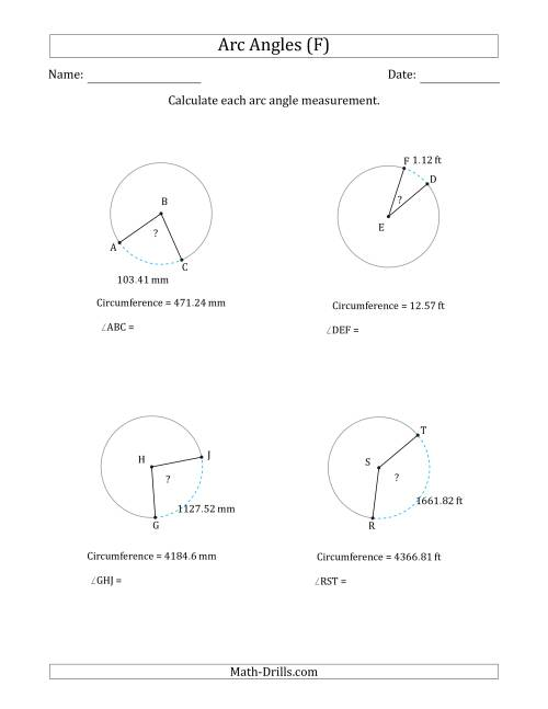 The Calculating Circle Arc Angle Measurements from Circumference (F) Math Worksheet