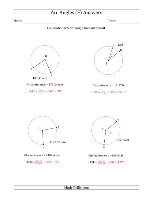 The Calculating Circle Arc Angle Measurements from Circumference (F) Math Worksheet Page 2