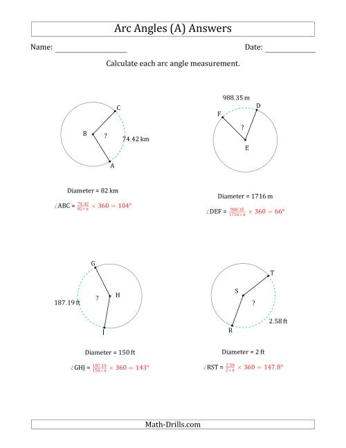 The Calculating Circle Arc Angle Measurements from Diameter (A) Math Worksheet Page 2
