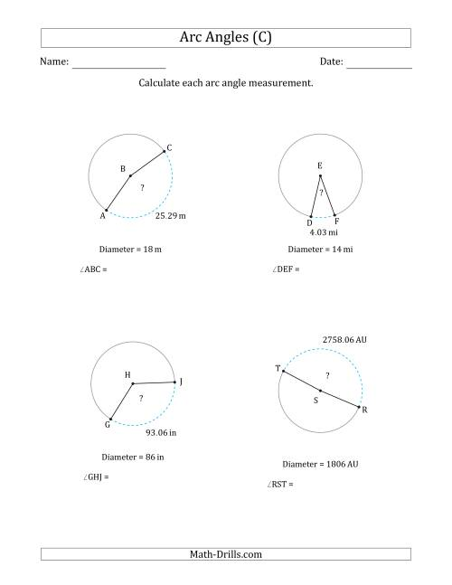 calculating circle arc angle from diameter