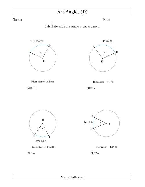 The Calculating Circle Arc Angle Measurements from Diameter (D) Math Worksheet