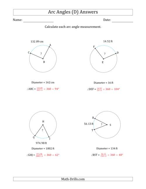 The Calculating Circle Arc Angle Measurements from Diameter (D) Math Worksheet Page 2