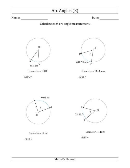 The Calculating Circle Arc Angle Measurements from Diameter (E) Math Worksheet