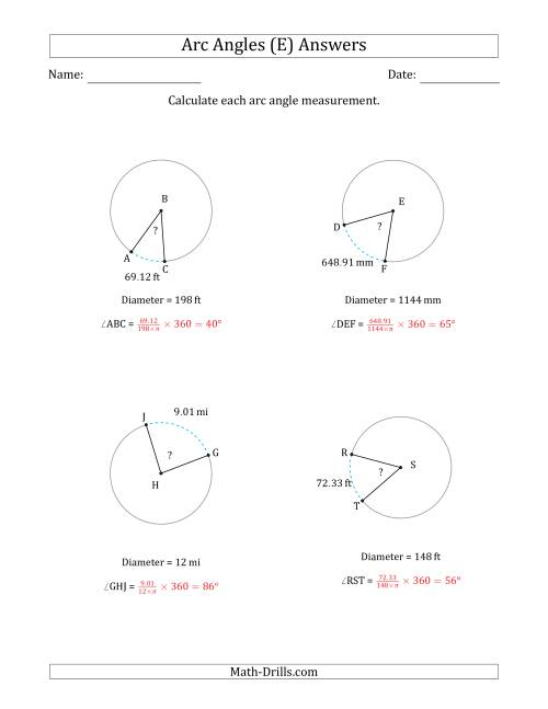 The Calculating Circle Arc Angle Measurements from Diameter (E) Math Worksheet Page 2