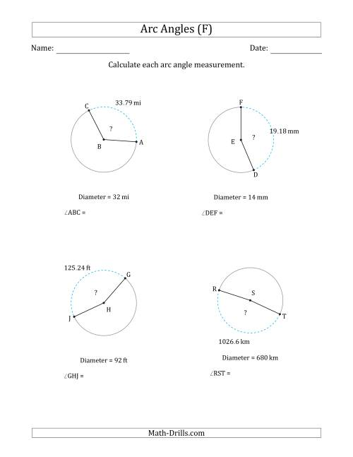 The Calculating Circle Arc Angle Measurements from Diameter (F) Math Worksheet