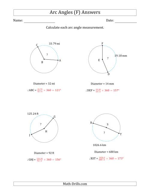 The Calculating Circle Arc Angle Measurements from Diameter (F) Math Worksheet Page 2