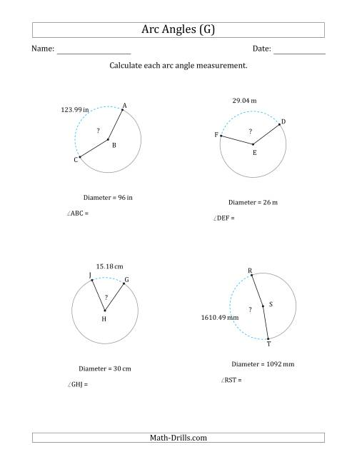 The Calculating Circle Arc Angle Measurements from Diameter (G) Math Worksheet
