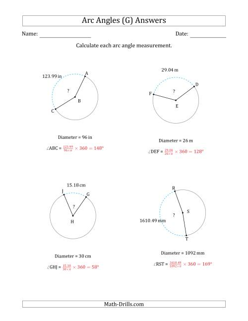The Calculating Circle Arc Angle Measurements from Diameter (G) Math Worksheet Page 2