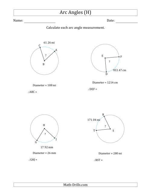 The Calculating Circle Arc Angle Measurements from Diameter (H) Math Worksheet