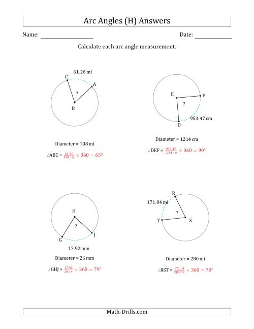 The Calculating Circle Arc Angle Measurements from Diameter (H) Math Worksheet Page 2