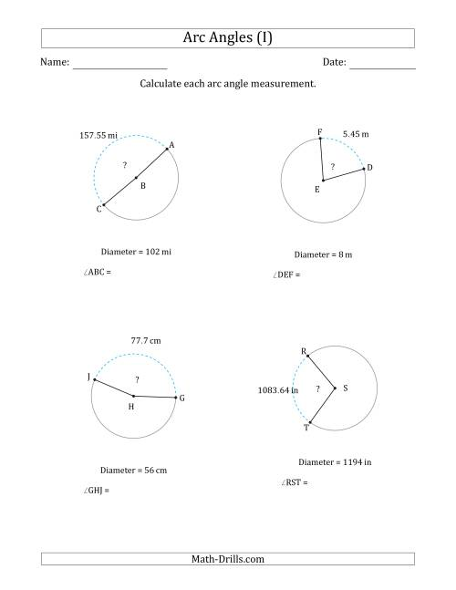 The Calculating Circle Arc Angle Measurements from Diameter (I) Math Worksheet