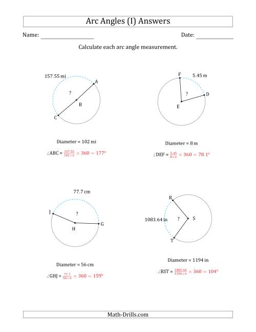 The Calculating Circle Arc Angle Measurements from Diameter (I) Math Worksheet Page 2