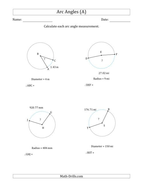 The Calculating Circle Arc Angle Measurements from Radius or Diameter (A) Math Worksheet