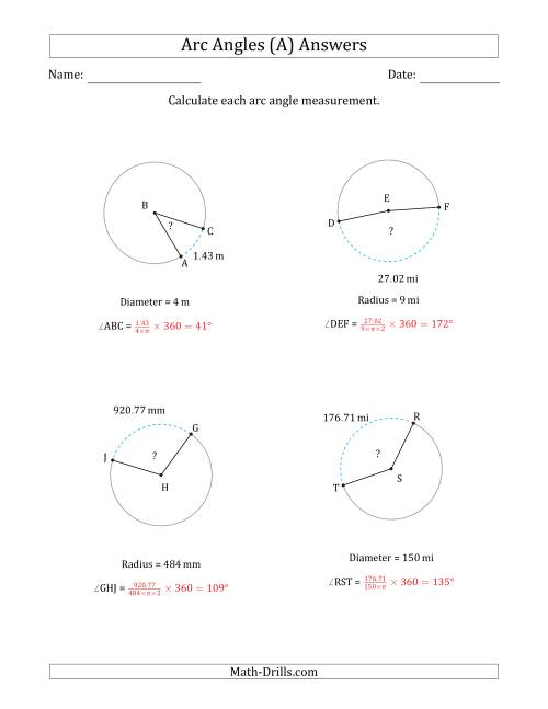 The Calculating Circle Arc Angle Measurements from Radius or Diameter (A) Math Worksheet Page 2