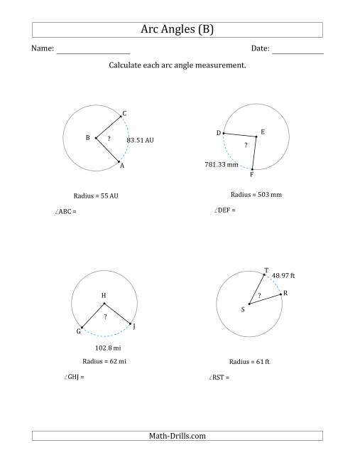 The Calculating Circle Arc Angle Measurements from Radius (B) Math Worksheet