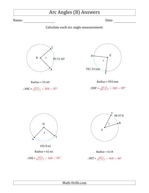 The Calculating Circle Arc Angle Measurements from Radius (B) Math Worksheet Page 2