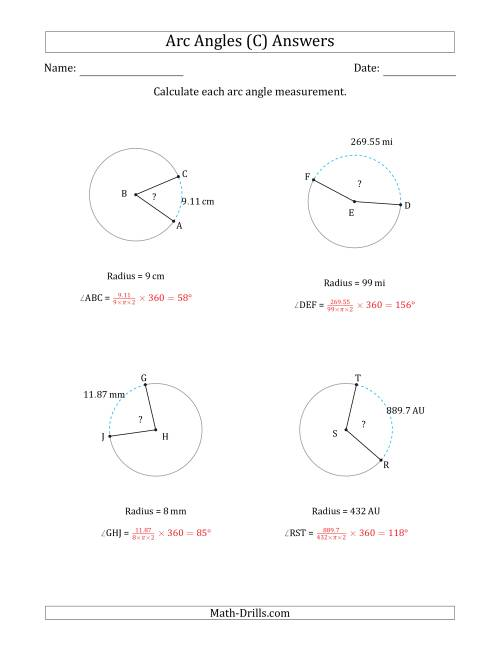 The Calculating Circle Arc Angle Measurements from Radius (C) Math Worksheet Page 2