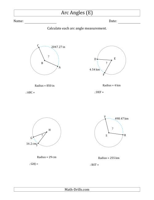 The Calculating Circle Arc Angle Measurements from Radius (E) Math Worksheet