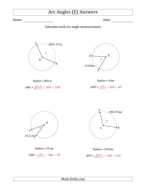 The Calculating Circle Arc Angle Measurements from Radius (E) Math Worksheet Page 2