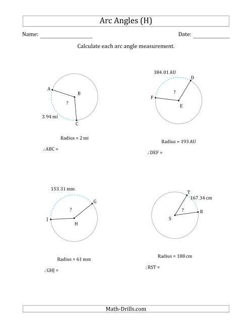 The Calculating Circle Arc Angle Measurements from Radius (H) Math Worksheet