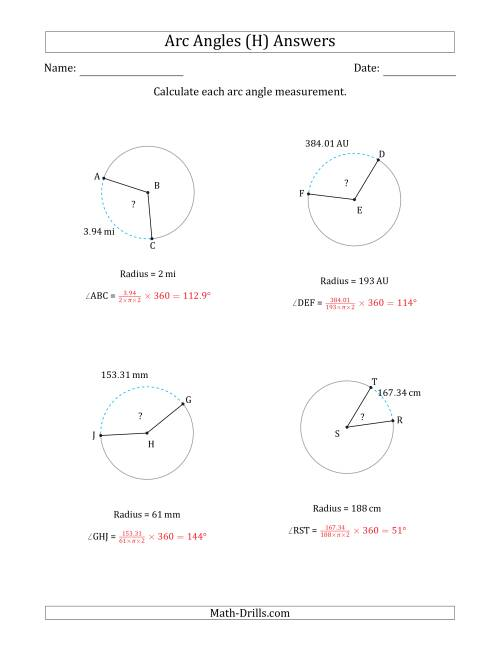 The Calculating Circle Arc Angle Measurements from Radius (H) Math Worksheet Page 2