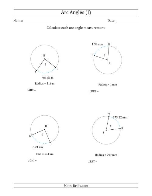 The Calculating Circle Arc Angle Measurements from Radius (I) Math Worksheet