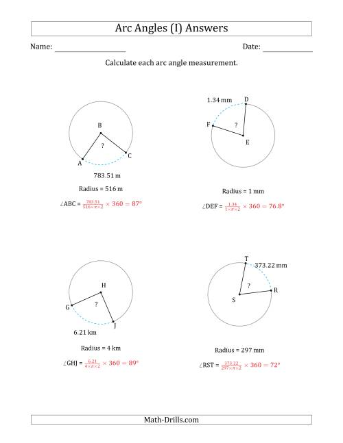 The Calculating Circle Arc Angle Measurements from Radius (I) Math Worksheet Page 2