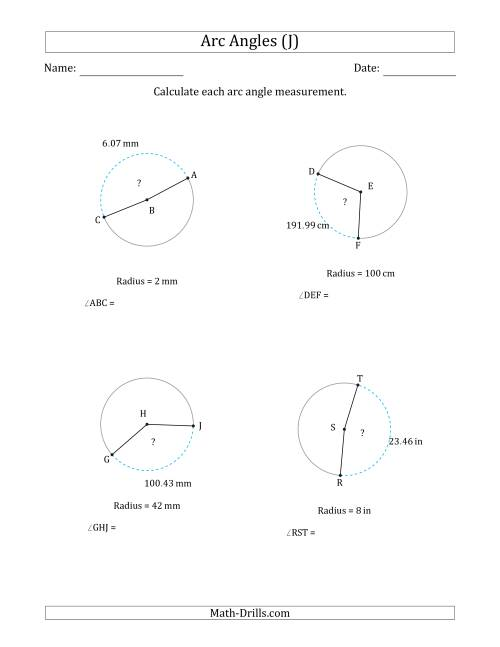 The Calculating Circle Arc Angle Measurements from Radius (J) Math Worksheet
