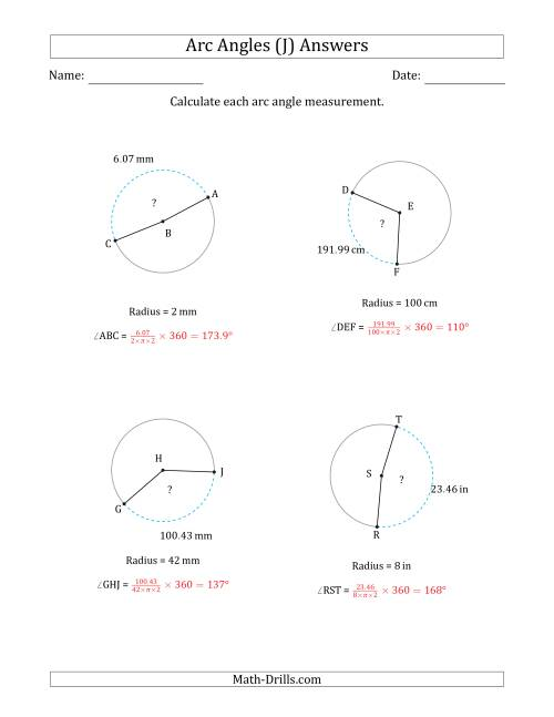 The Calculating Circle Arc Angle Measurements from Radius (J) Math Worksheet Page 2