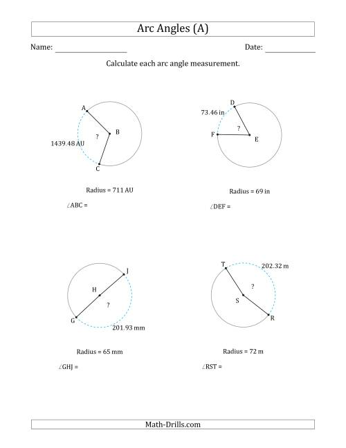 The Calculating Circle Arc Angle Measurements from Radius (All) Math Worksheet