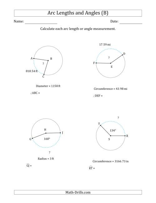 The Calculating Arc Length or Angle from Circumference, Radius or Diameter (B) Math Worksheet