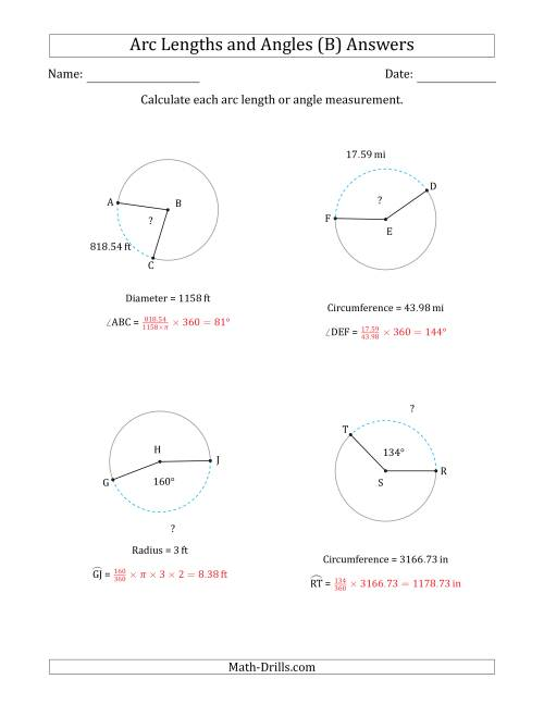 The Calculating Arc Length or Angle from Circumference, Radius or Diameter (B) Math Worksheet Page 2