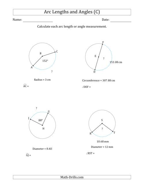 The Calculating Arc Length or Angle from Circumference, Radius or Diameter (C) Math Worksheet