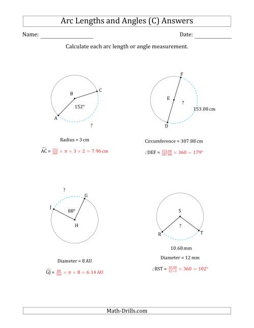 The Calculating Arc Length or Angle from Circumference, Radius or Diameter (C) Math Worksheet Page 2