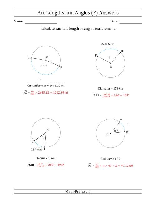 The Calculating Arc Length or Angle from Circumference, Radius or Diameter (F) Math Worksheet Page 2