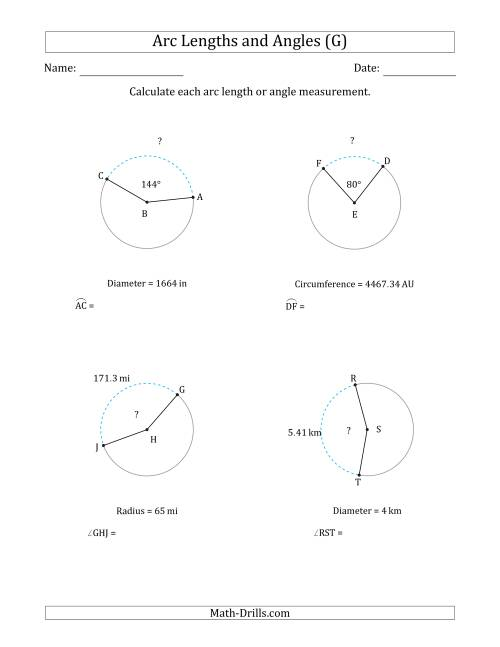 The Calculating Arc Length or Angle from Circumference, Radius or Diameter (G) Math Worksheet