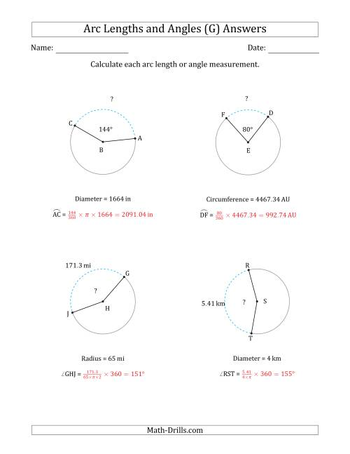 The Calculating Arc Length or Angle from Circumference, Radius or Diameter (G) Math Worksheet Page 2