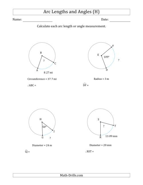 The Calculating Arc Length or Angle from Circumference, Radius or Diameter (H) Math Worksheet