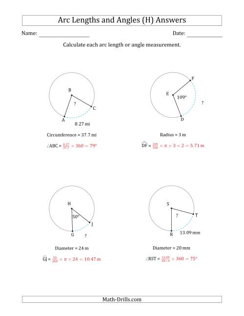 The Calculating Arc Length or Angle from Circumference, Radius or Diameter (H) Math Worksheet Page 2