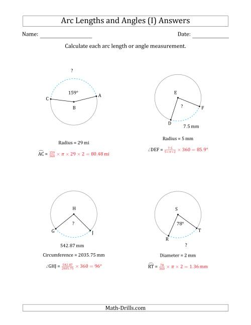 The Calculating Arc Length or Angle from Circumference, Radius or Diameter (I) Math Worksheet Page 2