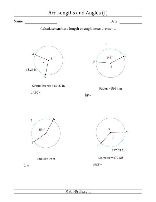 The Calculating Arc Length or Angle from Circumference, Radius or Diameter (J) Math Worksheet