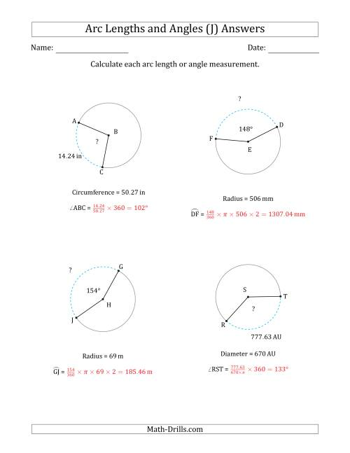 The Calculating Arc Length or Angle from Circumference, Radius or Diameter (J) Math Worksheet Page 2